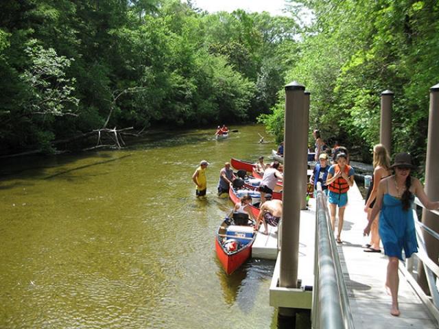 commercial canoe dock with fiberglass pilings