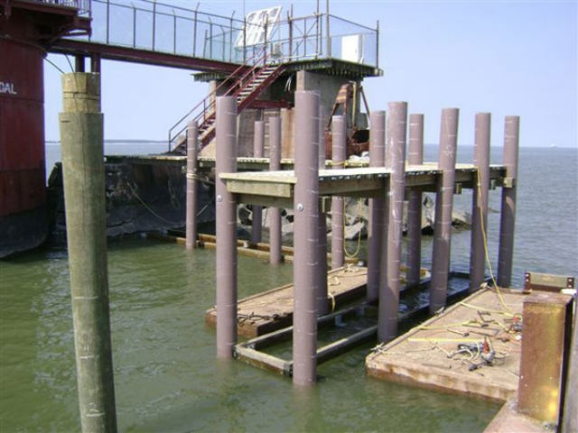 Ship John Shoal lighthouse with Pearson pilings in NJ