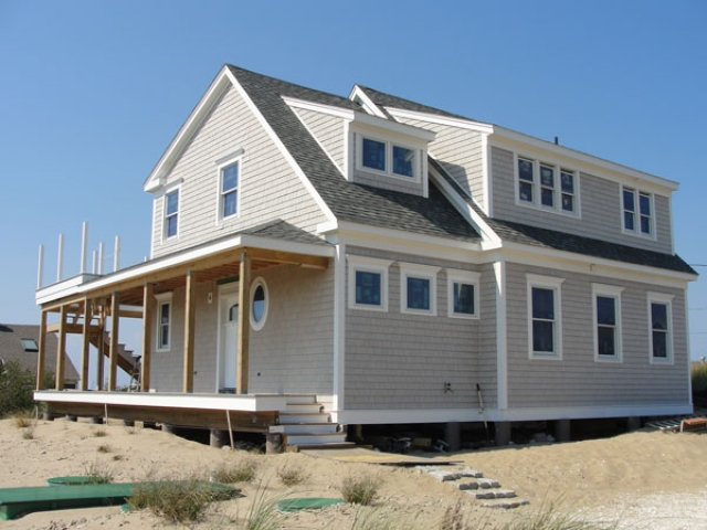 Eastham, MA home with fiberglass pilings foundation