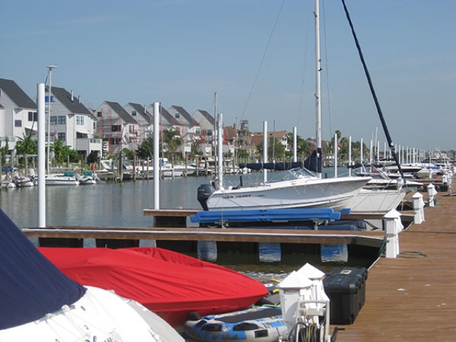 commercial pier in Galveston, TX with fiberglass pilings