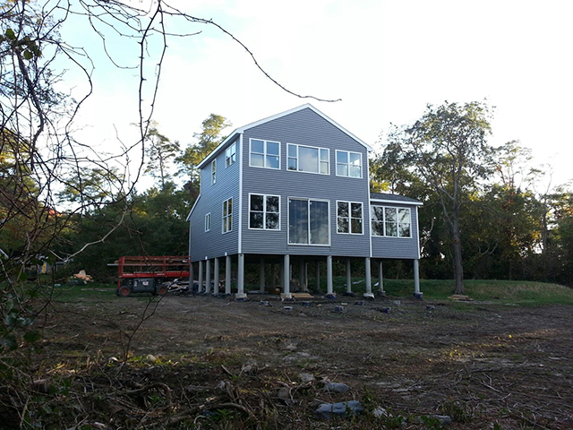 Hog Island in RI, house foundation made of fiberglass pilings