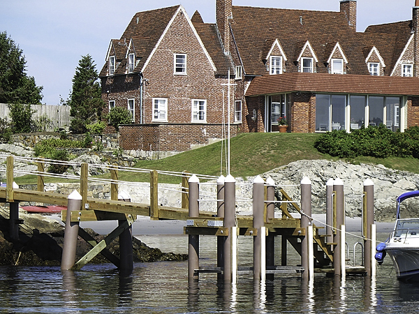 Newport Mansion dock with fiberglass pilings