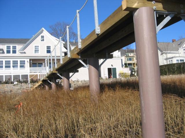 Massachusetts pier with fiberglass pilings