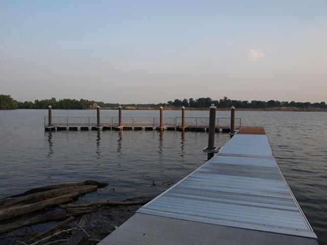 floating dock in Quaker Penn Park, PA