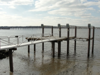 dock with fiberglass pilings