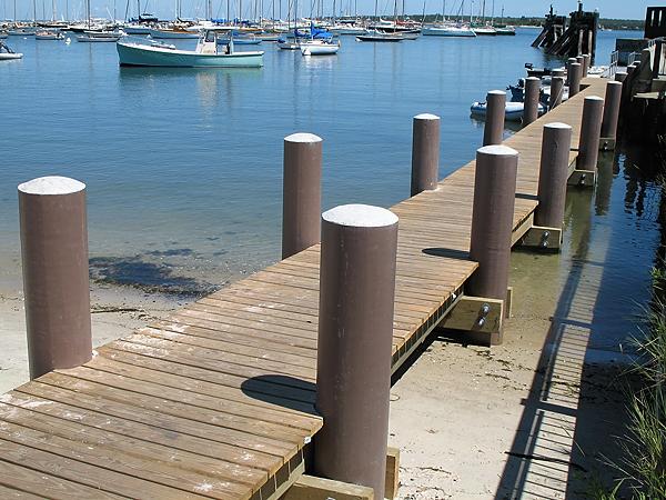 Martha's Vineyard, MA dinghy dock built wtih fiberglass composite pilings