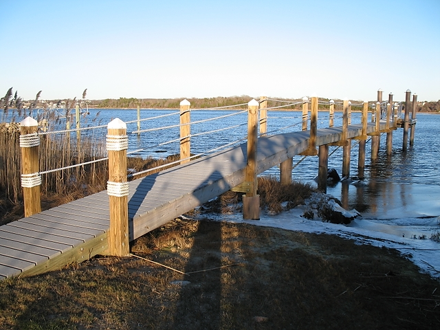 Westport River, MA pier with fiberglass pilings