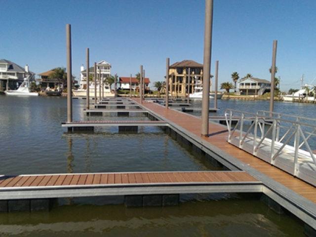 Bridge Harbor, TX pier with fiberglass pilings