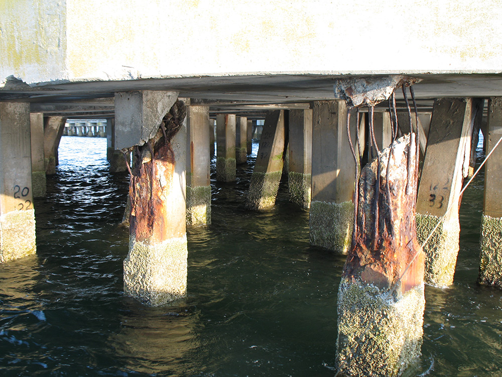Deteriorating Concrete Pilings