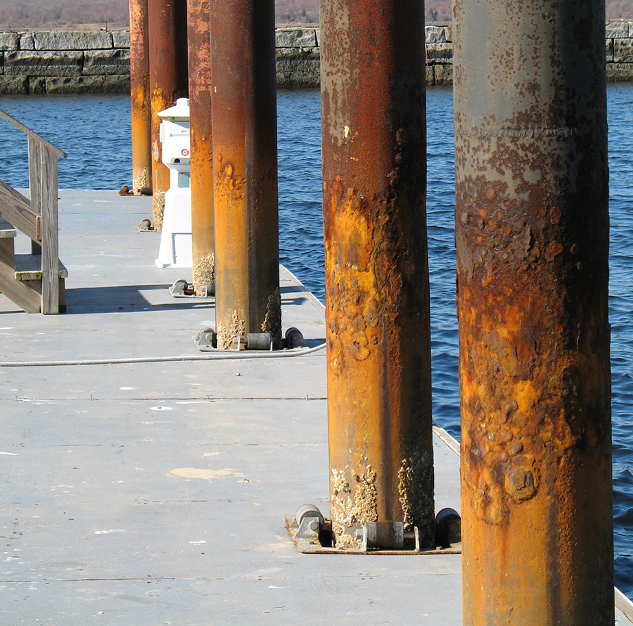 deteriorating steel pilings
