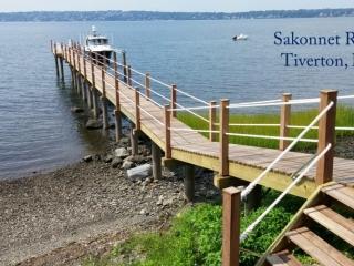 Sakonnet River dock with fiberglass pilings