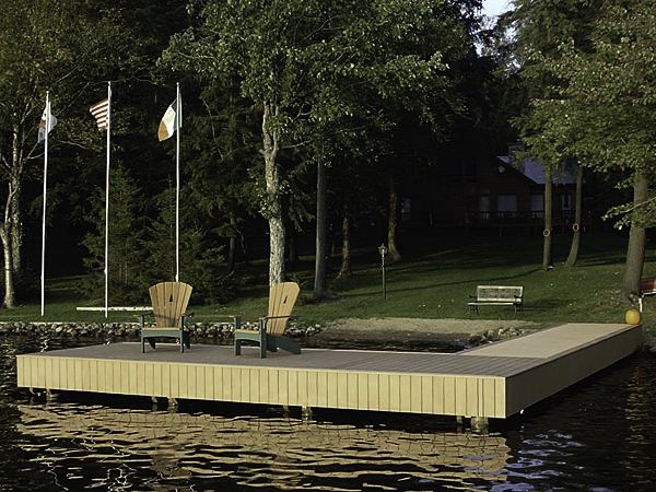 lake dock with fiberglass composite pilings