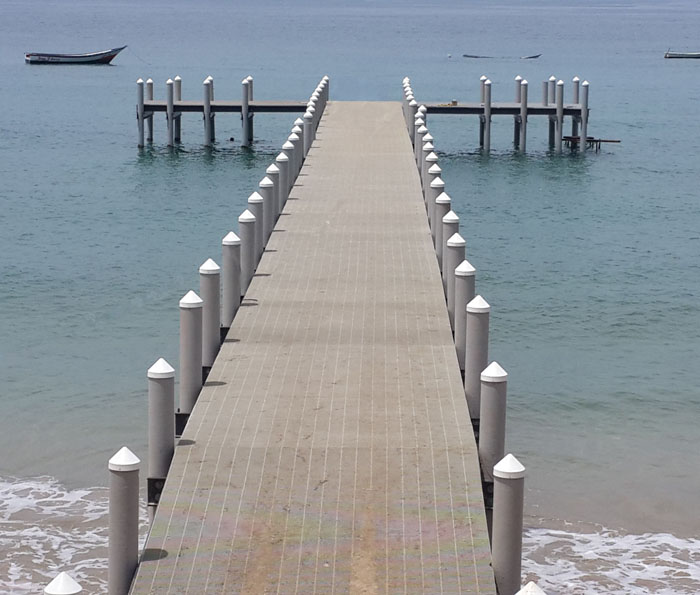 Pier in South America built with fiberglass composite pilings