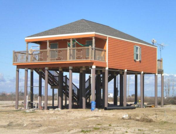 home on composite pilings in Cameron Parish, Louisiana
